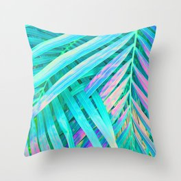 Palms Green Pink Throw Pillow