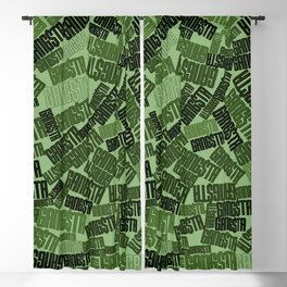 GANGSTA jungle camo / Green camouflage pattern with GANGSTA slogan Blackout Curtain