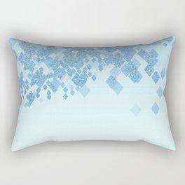 Light Aqua Blue Gradient Faux Glitter Diamonds Rectangular Pillow