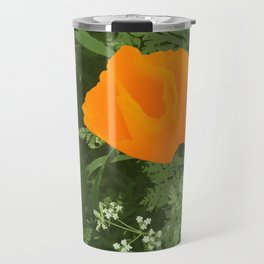 California poppy - digital art photograph Travel Mug