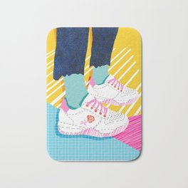Butter - throwback 80s style vibes shoes fashion sneakers 1980's trend memphis art Bath Mat