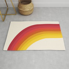 4-Sho - retro 70s style throwback vibes 1970's trendy decor art minimalist rainbow stripes Rug