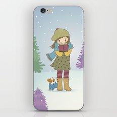 Girl and Dog in Snow iPhone & iPod Skin