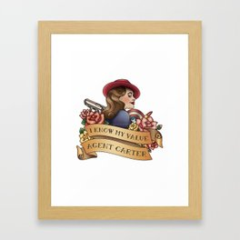 Agent Carter Vintage Tattoo Light Framed Art Print