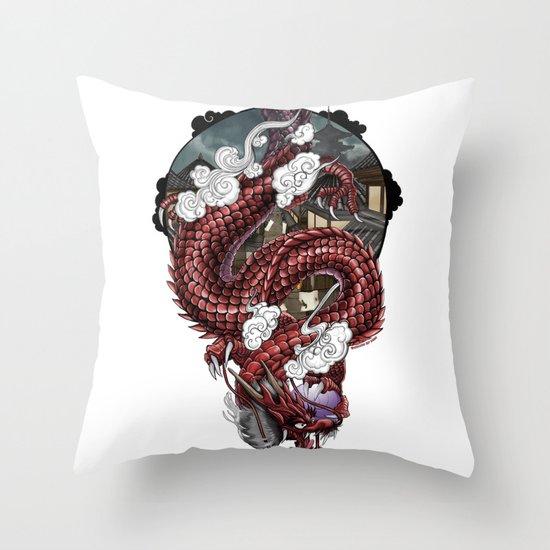Japanese Dragon 竜 Throw Pillow