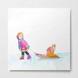 Girl and cat  Metal Print