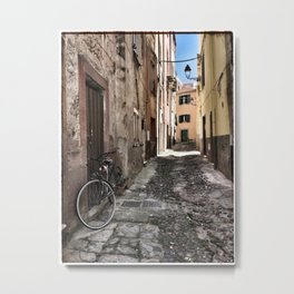 bicycle at the house door - ready to go Metal Print