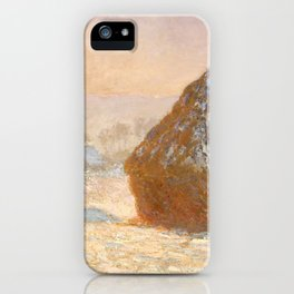 Wheatstacks, Snow Effect, Morning by Claude Monet iPhone Case