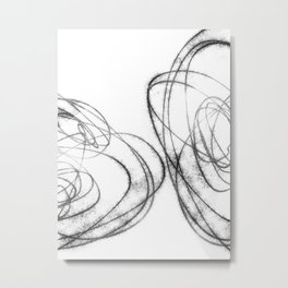 Minimalist Abstract Line Drawing in Black and White Metal Print
