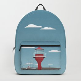 The lighthouse in the harbour in Skanor - light Backpack