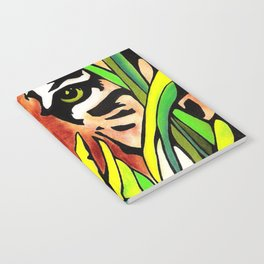 Tiger Eyes Looking Through Tall Grass By annmariescreations Notebook
