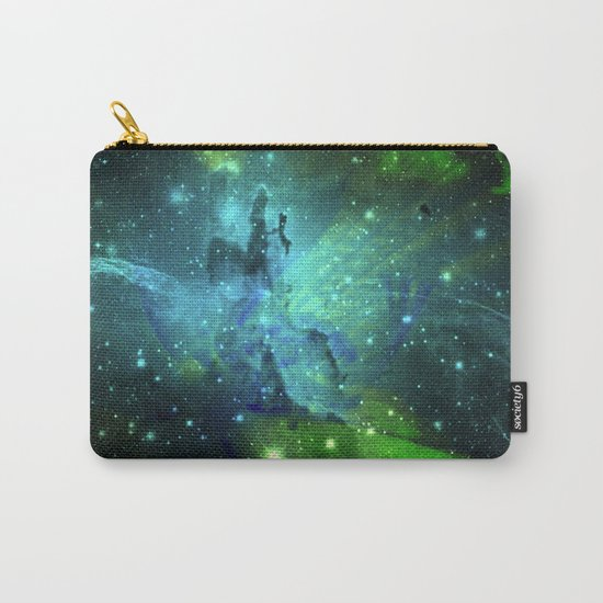 Blue Green Floral Space Explosion Carry-All Pouch