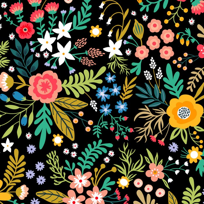 Amazing floral pattern with bright colorful flowers, plants, branches and berries on a black backgro Leggings