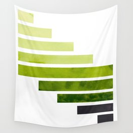 Sap Green Midcentury Modern Minimalist Staggered Stripes Rectangle Geometric Pattern Watercolor Art Wall Tapestry