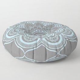 Mandala Flower Gray & Baby Blue Floor Pillow