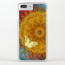 Magical fire mandala and gold butterfly Clear iPhone Case