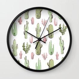 cactus pink and green Wall Clock