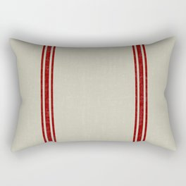 Red Stripes on Linen color background French Grainsack Distressed Country Farmhouse Rectangular Pillow