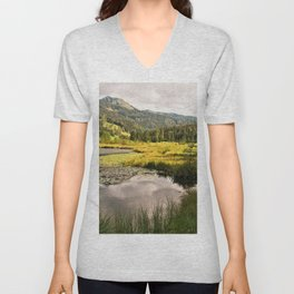Lake in the mountains Unisex V-Neck