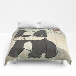 Hand Drawn and Quirky Boston Terrier San Jones Illustration Comforters