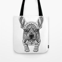frenchie Tote Bags featuring Frenchie by BIOWORKZ