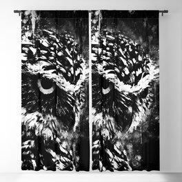 burrowing owl splatter watercolor black white Blackout Curtain