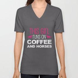 Coffee & Horses Girl | Horseback Riding Rider Barn Unisex V-Neck