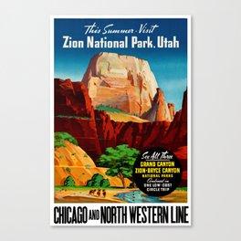 Zion National Park Vintage Poster Canvas Print
