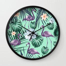Tropical Flamingo Flower Jungle #5 #tropical #decor #art #society6 Wall Clock