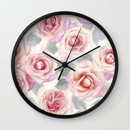 Mauve and Cream Painted Roses Wall Clock