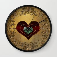 hearts Wall Clocks featuring Hearts by nicky2342
