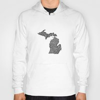 michigan Hoodies featuring Typographic Michigan by CAPow!