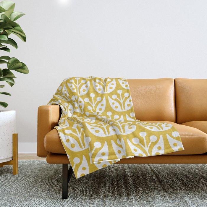 Mustard Yellow Throw Blanket Mesmerizing Mid Century Modern Flower Pattern Mustard Yellow Throw Blanket By