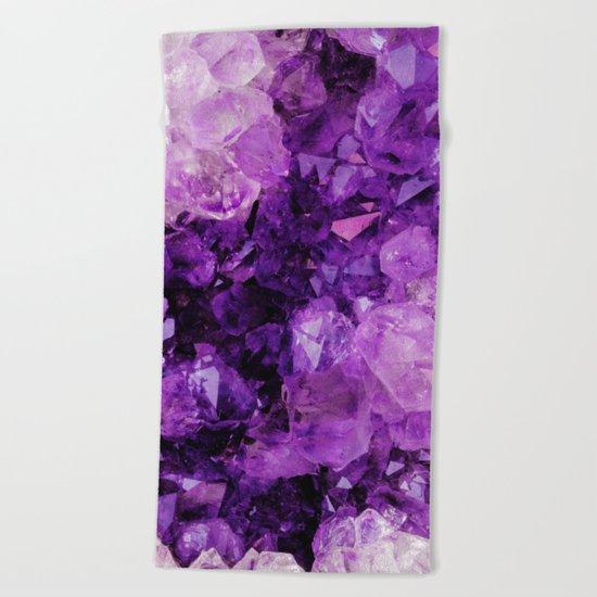 Purple Amethyst Crystals Beach Towel
