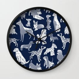 Geometric sweet wet noses // navy blue background white dogs Wall Clock
