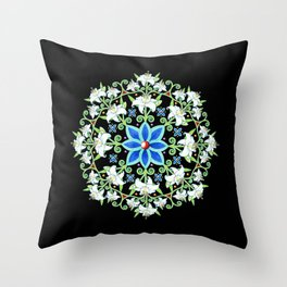 Folkloric Flower Crown Throw Pillow