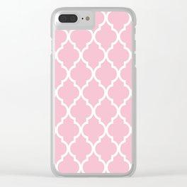 Classic Quatrefoil Lattice Pattern 731 Pink Clear iPhone Case