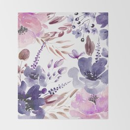 Watercolor giant flowers Throw Blanket