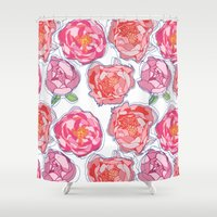 peonies Shower Curtains featuring Peonies by chloeeegee