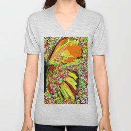 Butterfly Autumn So Pretty ORANGE AND GOLD Unisex V-Neck