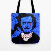 edgar allen poe Tote Bags featuring Edgar Allen Poe by Pluto00Art / Robin Brennan