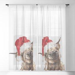 Christmas Highland Cow Sheer Curtain