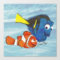 finding nemo Canvas Prints featuring Finding Nemo by Larissa