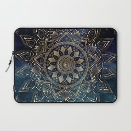 Elegant Gold Mandala Blue Galaxy Design Laptop Sleeve