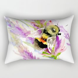 Bee and Flowers Rectangular Pillow