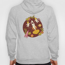 Astronauts in Space with Florals - Maroon Hoody