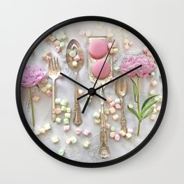 Shabby Chic Peonies Macarons and Vintage Spoon Kitchen Art Wall Clock