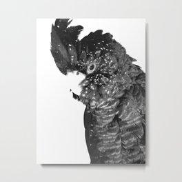 Black and White Cockatoo Illustration Metal Print