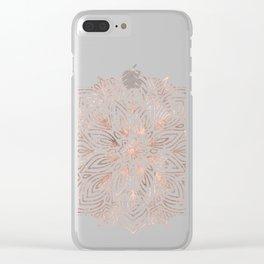 Mandala Rose Gold Quartz on Marble Clear iPhone Case