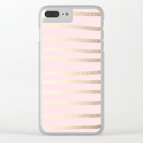 Drawn Stripes White Gold Sands on Flamingo Pink Clear iPhone Case